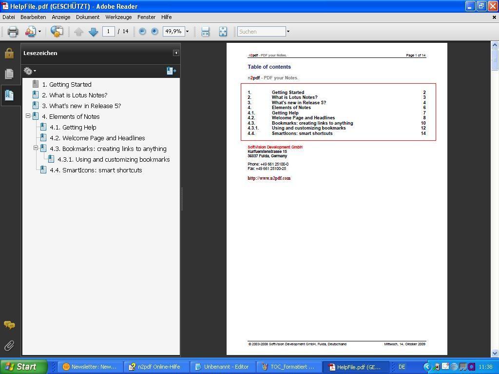Sceenshot Inhaltsverzeichnis
