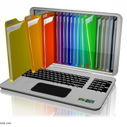 Aktenordner in Laptop Bild