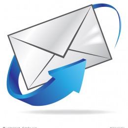 Briefumschlag mit blauen Pfeil