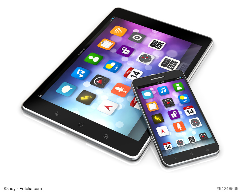 tablet and smartphone with app screen